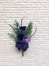 Scottish Kid's 2 Little Tiny Thistles Heather Tartan buttonhole ( Made To Order)