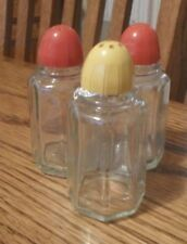 Glass Red & Yellow Top Salt & Pepper Shakers Set Of 3