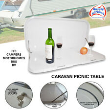 Caravan Folding Table 800mm X 450mm Surface Mount White Outdoor Picnic RV Camper