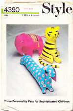 Vintage Style 1973 Sewing Pattern, Set of 3 Large Stuffed Toys, Repro Copy