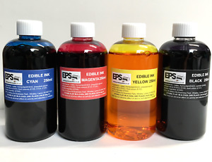 EPS Edible Ink 250ml Set for Canon Epson Printers (red, yellow, blue, black)