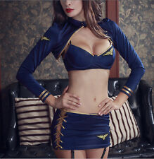 Cosplay Sexy Lingerie Stewardess Uniform Erotic Bra+T-thong Women Sexy Underwear