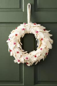 NWT ANTHROPOLOGIE BERRY LEAF WOOL FELT DOOR WREATH CHRISTMAS HOLIDAY DECORATION