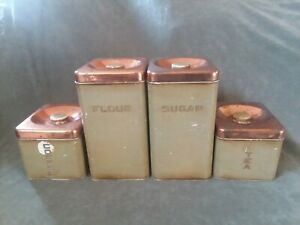 Vintage Lincoln Beautyware Metal Canister Set Kitchen Containers w/ Copper Lids