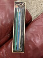 Lot 2 Vtg Empire Fairmount 2 Pencils New Unsharpened Blue Green Opened Package
