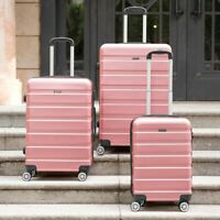 Rose Gold Lightweight Hard Shell 4 Wheel Spinner Travel Trolley Suitcase Luggage