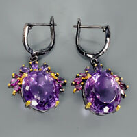 Unique SET35ct+ Natural Amethyst 925 Sterling Silver Earrings /E26363