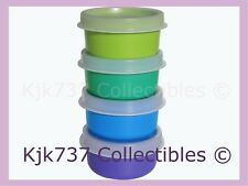 NEW 4 TUPPERWARE SMIDGETS TINY 1OZ GADGET CONTAINERS GREEN BLUE TURQUOISE PURPLE
