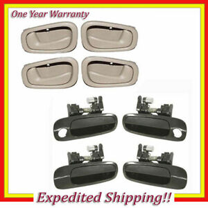 Outside Non Painted + Inside Door Handle Tan For 98-02 Corolla Prizm Set 8 DS26