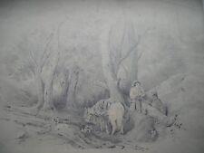 R. EMOND FORÊT CHEVAL CHIEN CAVALIER Grand dessin lavis ORIGINAL signé XIXe