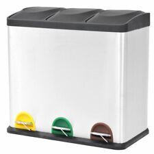vidaXL Pedaalemmer voor Recycling 3x18 L Roestvrij Staal Afvalbak Vuilnisbak