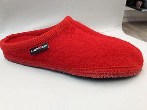 Haflinger Schuhe Pantoffeln Hausschuhe Damen Alaska Rot Fußbett Schurwolle