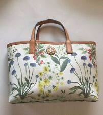 Tory Burch Green Floral Print Tote Bag w/ Removable  Pouch Compartment
