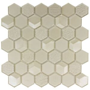 Modern Hexagon Beige Glossy Glass Mosaic Tile Backsplash Kitchen Wall MTO0154
