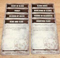 Necromunda Underhive Dark Uprising Corpse Grinder Cult Tactics Cards x 8