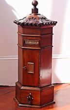 VICTORIAN POST MAIL BOX MAHOGANY WOOD HAND CARVED FOR LETTERS