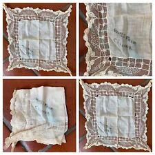 c. 1893 Chicago World Fair White Lace Cotton Victorian 1890s Square Hankerchief
