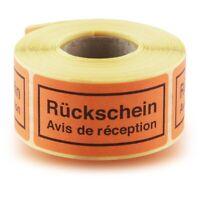 Deutsche Post Rückschein Label International orange auf der Rolle mit 250 Stück