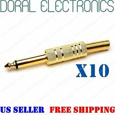 "10 pack 1/4"" 6.35mm gold male mono monaural audio cable jack connector plugs TRS"