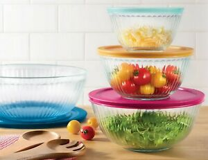 Pyrex 4 Piece Glass Mixing Bowls Sculpted with Lids Food Prep Storage Set