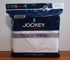 Jockey 4-Pack Men's Classic Collection 100% Cotton V-Neck T-Shirt White