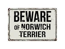 415Vs Beware Of Norwich Terrier 8� x 12� Vintage Aluminum Retro Metal Sign