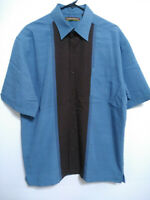 Cubavera Mens Large Blue Brown Rayon Blend Retro Dress Casual Button Up Shirt