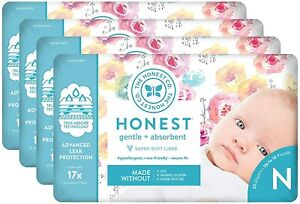 The Honest Company Diapers for Newborn, Size 0, 128 Count, Various Patterns