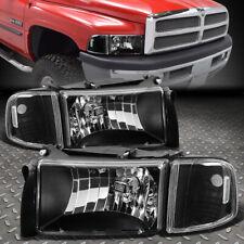 For 94-02 Dodge Ram 1500 2500 3500 Black Housing Clear Corner Headlight Lamps (Fits: Dodge)