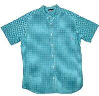 Columbia Sportswear Company Mens Size L Teal White Plaid Short Sleeve Shirt