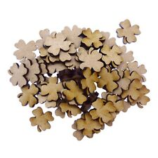 50 x Wooden Laser Cut MDF shapes Craft Blank Embellishments - Lucky Clover 20mm