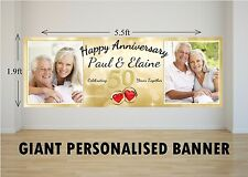 Personalised GIANT Large 50th Golden Wedding Happy Anniversary Banner N29