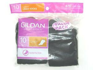 Gildan Smart Basics Womens Liner Socks 10 Pair 4-10 Size White Gray Black Combo