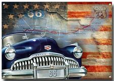 ROUTE 66 ENAMELLED METAL SIGN,BUICK,AMERICAN ROUTE 66,ICONIC.