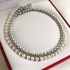 Collier Perle de Culture Ras du Cou Deux Rang Gris Blanc Argent 925 Zircon TZ