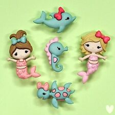 Dress it Up Buttons Mermaid Kisses 9320 - Mermaids Seahorse Dolphins Turtle Fish