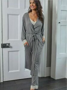 Pour Moi Sofa Loves Lace Longline Soft Jersey Gown - Grey Size 16