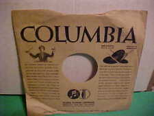 VINTAGE 10 INch 78 RPM COLUMBIA RECORDS PAPER SLEEVE ONLY NO RECORD