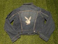 RARE Women's Vintage Playboy Bunny Button Down Denim Jacket Size Large