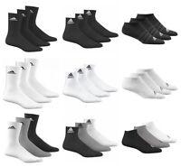 Adidas Mens Womens Socks 3 Pairs Crew Quarter No Show Sports Cotton