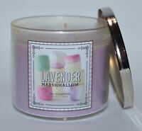 BATH & BODY WORKS LAVENDER MARSHMALLOW SCENTED CANDLE 3 WICK 14.5OZ LARGE PURPLE
