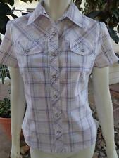 AMBIENCE XS Blouse Top Pearl Snap Western Shirt Red White & Blue Silver thread