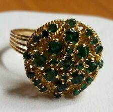 14k yellow gold emerald ring vintage cocktail size 9 Green prong set cluster