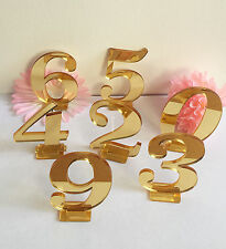 Gold Mirror Wedding Standing Table Numbers Acrylic Custom Table Decorations