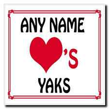 Love Heart Yaks Personalised Coaster