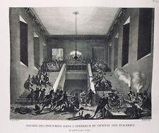Château des Tuileries pendant la Révolution Française Paris 1791 Rare Gravure