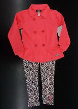 Girls Kensie $38 2pc Neon Coral & Cheetah Print Set Size 4 - 6X