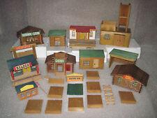 Vintage HTF Germany GDR VERO LTD Wood Western Fort Cowboys Playset Buildings Set