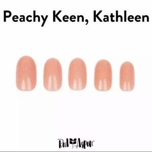 RED ASPEN Reusable Nail Dashes Glue On Medium Round Peachy Keen Kathleen 24 0 9