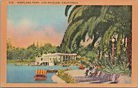Westlake Park Los Angeles CA Boating Gardens Vintage Linen Postcard - Unused